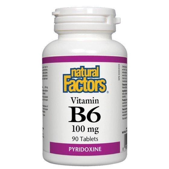 NATURAL FACTORS / НАТУРАЛ ФАКТОРС Витамин B6 100 мг x 90 таблетки
