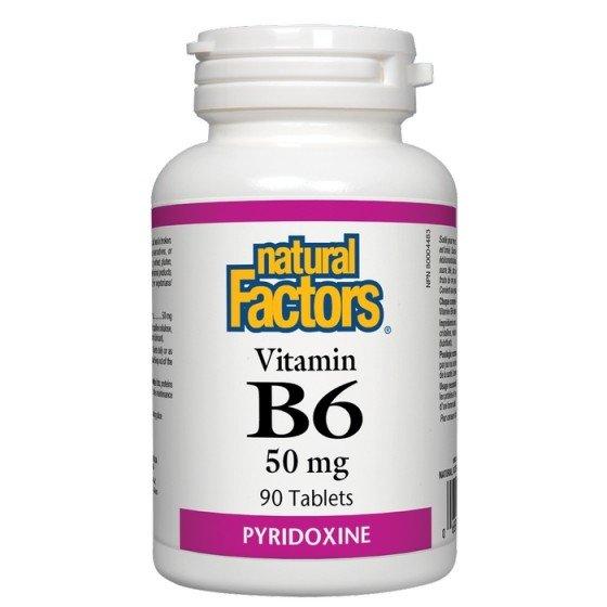 NATURAL FACTORS / НАТУРАЛ ФАКТОРС Витамин B6 50 мг x 90 таблетки