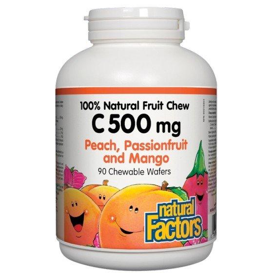 NATURAL FACTORS / НАТУРАЛ ФАКТОРС Витамин C 500 мг (тропически плодове) х 90 дъвчащи таблетки