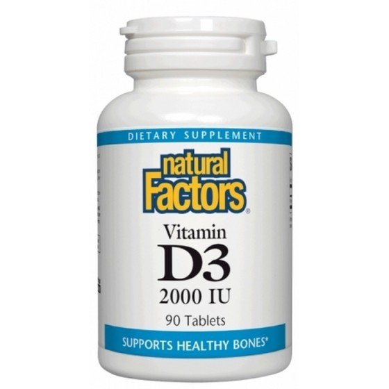 NATURAL FACTORS / НАТУРАЛ ФАКТОРС Витамин D3 2000 IU x 90 таблетки