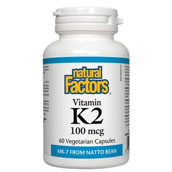 NATURAL FACTORS / НАТУРАЛ ФАКТОРС Витамин K2 (MK-7) 100 мкг х 60 V капсули