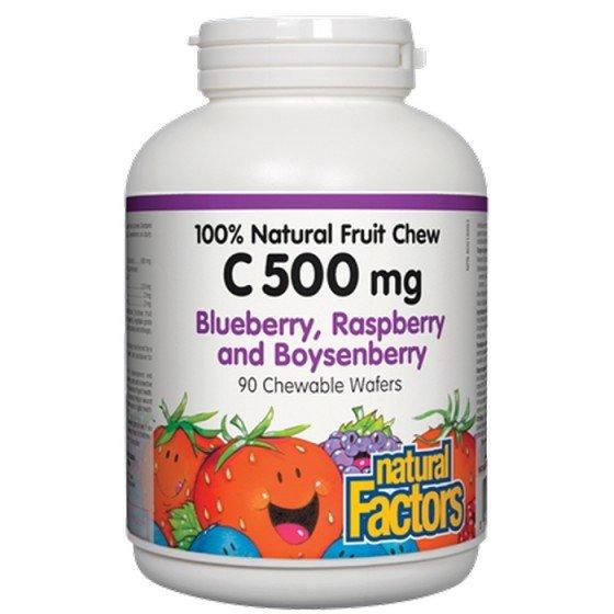 NATURAL FACTORS / НАТУРАЛ ФАКТОРС Витамин C 500 мг (горски плодове) х 90 дъвчащи таблетки
