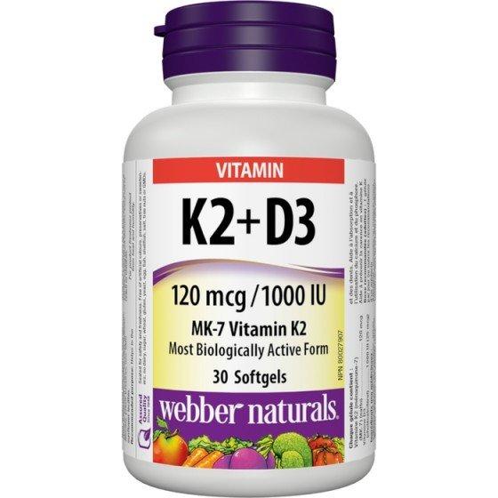 WEBBER NATURALS / УЕБЪР НАТУРАЛС Витамин К2 120 мкг + D3 1000 IU х 30 софтгел капсули