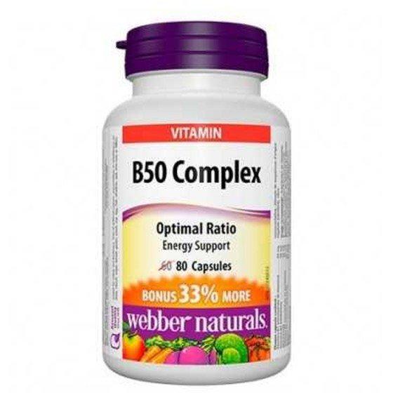 WEBBER NATURALS / УЕБЪР НАТУРАЛС Витамин B50 Комплекс х 80 капсули