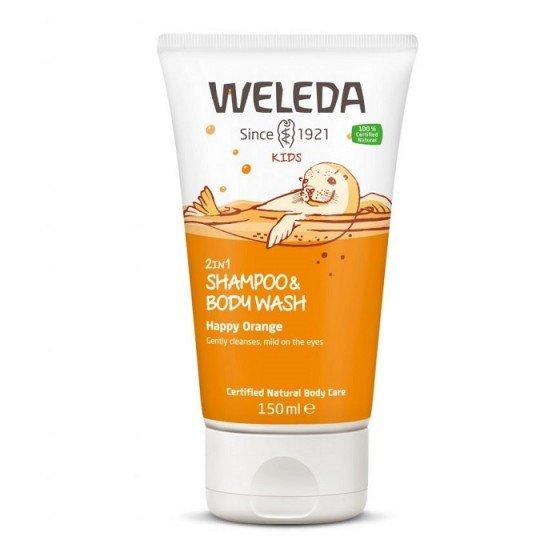 WELEDA / ВЕЛЕДА Душ-гел и шампоан за деца с портокал 150 мл