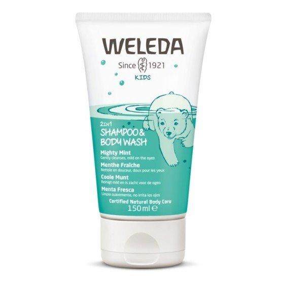 WELEDA / ВЕЛЕДА Душ-гел и шампоан за деца с мента 150 мл
