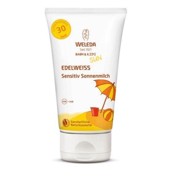 WELEDA / ВЕЛЕДА Слънцезащитен лосион с еделвайс за чувствителна кожа SPF50 подходящ за бебета и деца