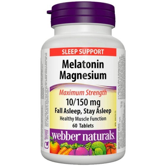 WEBBER NATURALS / УЕБЪР НАТУРАЛС Мелатонин 10 mg + Магнезий 150 mg, 60 таблетки