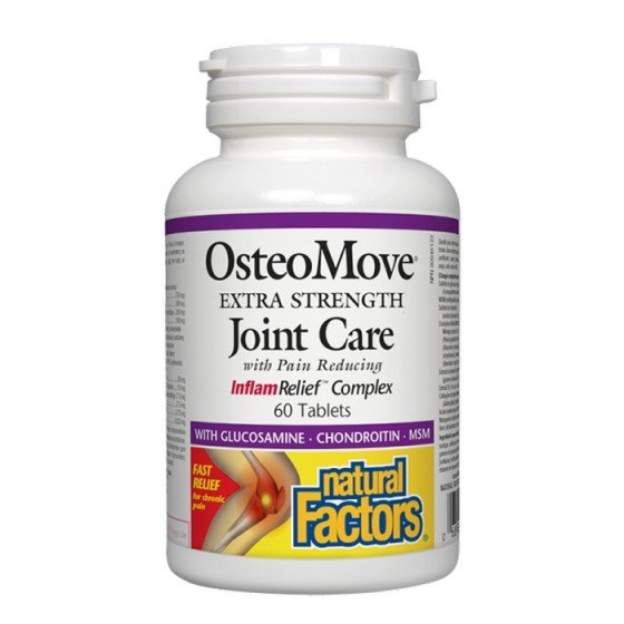 NATURAL FACTORS / НАТУРАЛ ФАКТОРС OsteoMove Супер грижа за ставите 1431 mg, 60 таблетки