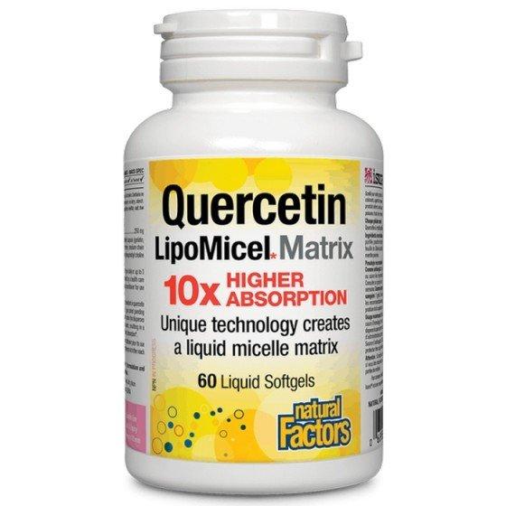 NATURAL FACTORS / НАТУРАЛ ФАКТОРС Кверцетин LipoMicel Matrix 250 mg, 60 софтгел капсули