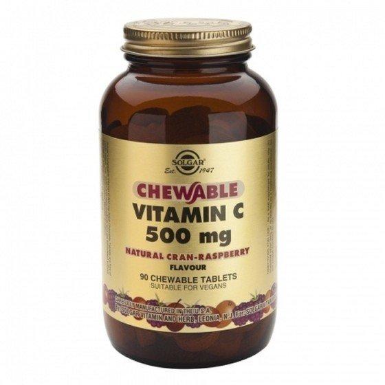 Solgar / Солгар Витамин C 500мг с Вкус Боровинка и Малина 90 Дъвчащи Таблетки