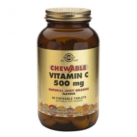 Solgar / Солгар Витамин C 500мг с Вкус Портокал 90 Дъвчащи Таблетки
