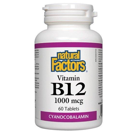 NATURAL FACTORS / НАТУРАЛ ФАКТОРС Витамин B12 (цианокобаламин) 1000/50, 60 таблетки R